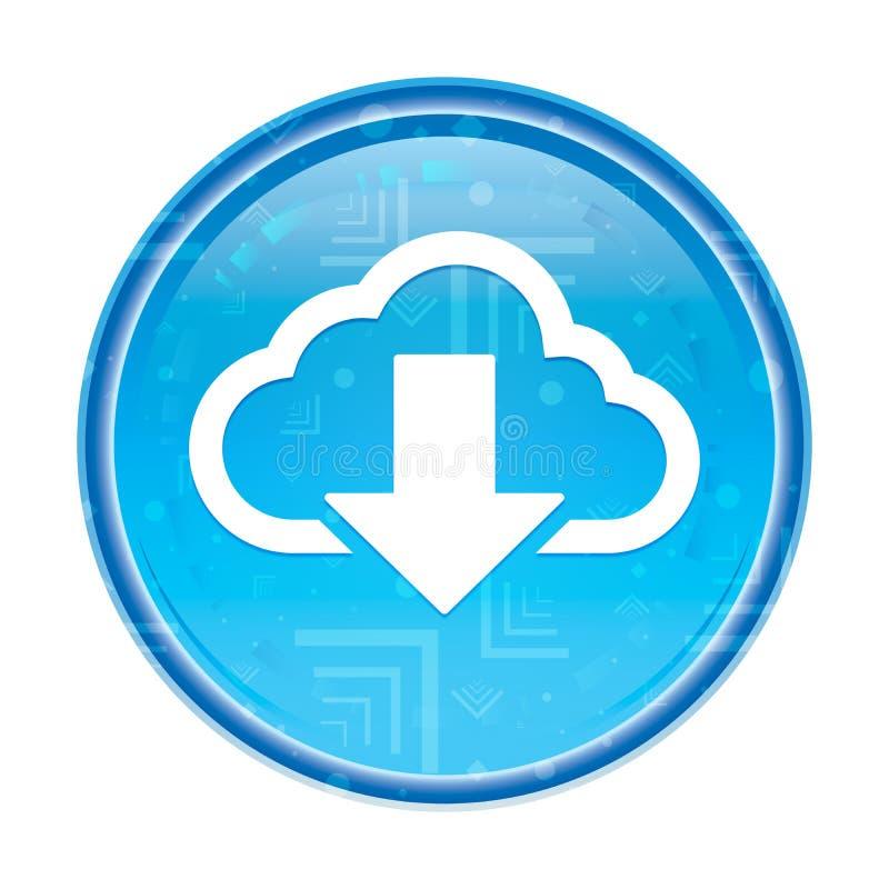 Το σύννεφο μεταφορτώνει το floral μπλε στρογγυλό κουμπί εικονιδίων ελεύθερη απεικόνιση δικαιώματος
