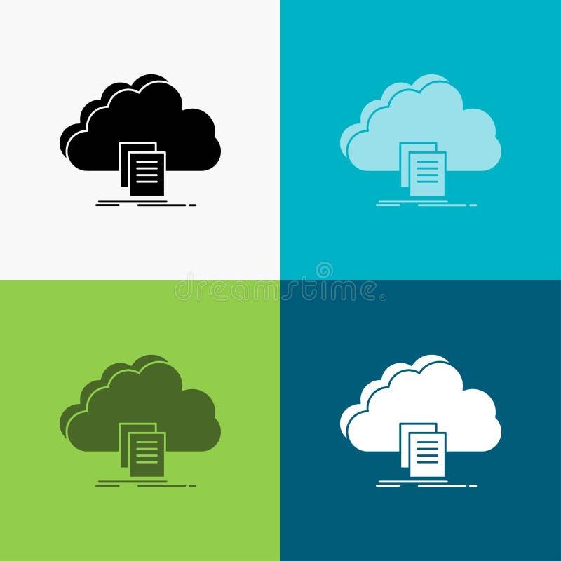 το σύννεφο, πρόσβαση, έγγραφο, αρχείο, μεταφορτώνει το εικονίδιο πέρα από το διάφορο υπόβαθρο glyph σχέδιο ύφους, που σχεδιάζεται ελεύθερη απεικόνιση δικαιώματος