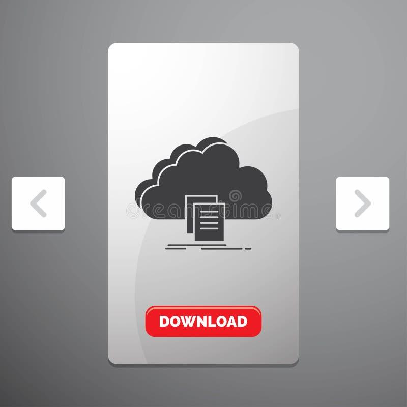 το σύννεφο, πρόσβαση, έγγραφο, αρχείο, μεταφορτώνει το εικονίδιο Glyph στο σχέδιο ολισθαινόντων ρυθμιστών σελιδοποιήσεων φαγοποτι απεικόνιση αποθεμάτων