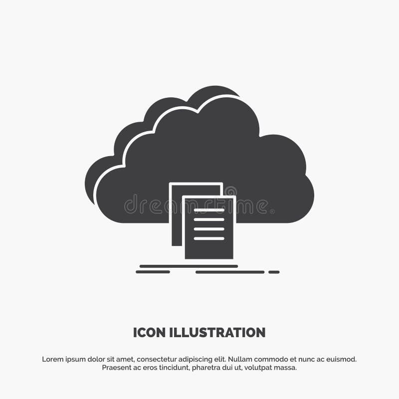 το σύννεφο, πρόσβαση, έγγραφο, αρχείο, μεταφορτώνει το εικονίδιο glyph διανυσματικό γκρίζο σύμβολο για UI και UX, τον ιστοχώρο ή  διανυσματική απεικόνιση