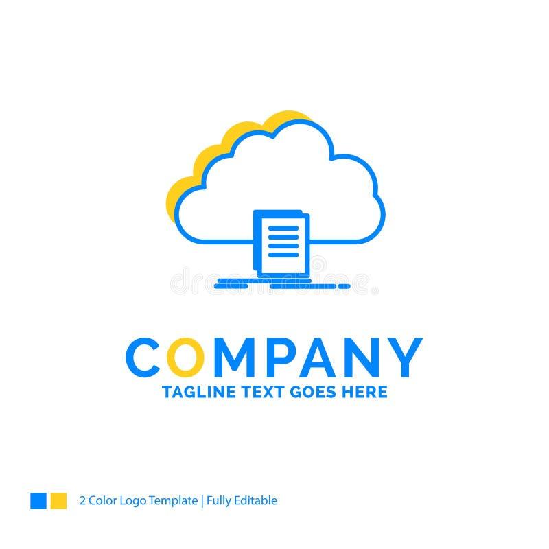 το σύννεφο, πρόσβαση, έγγραφο, αρχείο, μεταφορτώνει το μπλε κίτρινο επιχειρησιακό κούτσουρο ελεύθερη απεικόνιση δικαιώματος