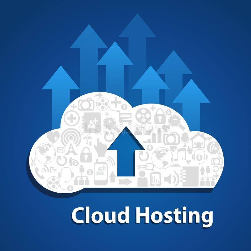 Το σύννεφο υπολογίζω-φορτώνει το κοινωνικό δίκτυο σύννεφων διανυσματική απεικόνιση