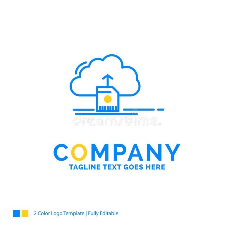 το σύννεφο, φορτώνει, εκτός από, στοιχεία, τον υπολογισμό του μπλε κίτρινου επιχειρησιακού λογότυπου τ απεικόνιση αποθεμάτων