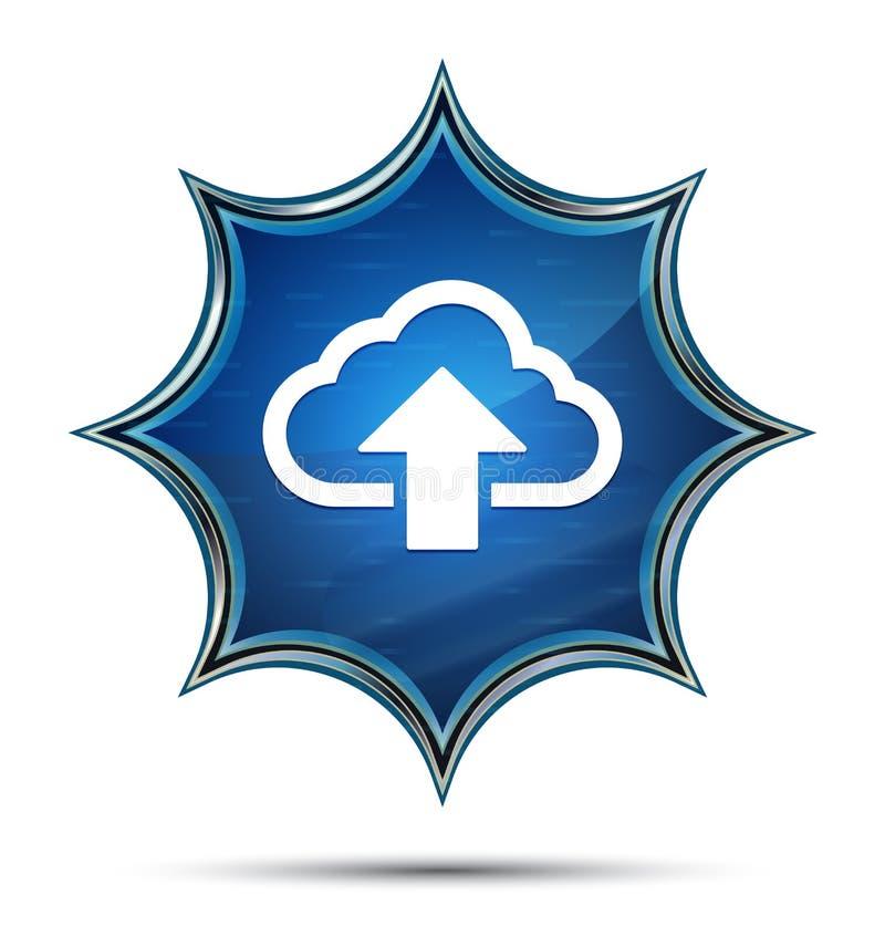 Το σύννεφο φορτώνει μπλε κουμπί ηλιοφάνειας εικονιδίων το μαγικό υαλώδες διανυσματική απεικόνιση