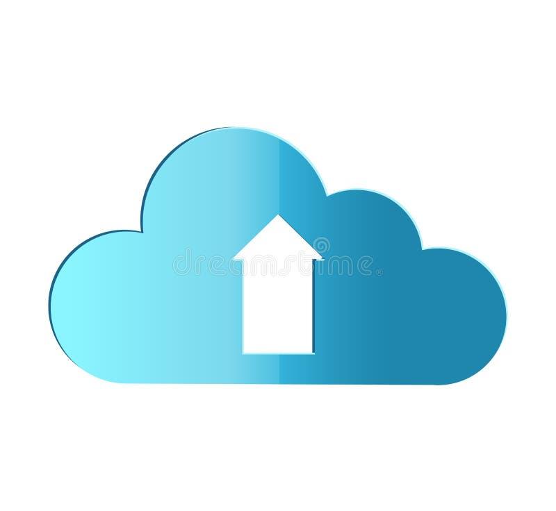 Το σύννεφο φορτώνει τις πληροφορίες για την έννοια απεικόνισης κεντρικών υπολογιστών Ρεαλιστικός με το ύφος σκιών Διανυσματικό πρ διανυσματική απεικόνιση