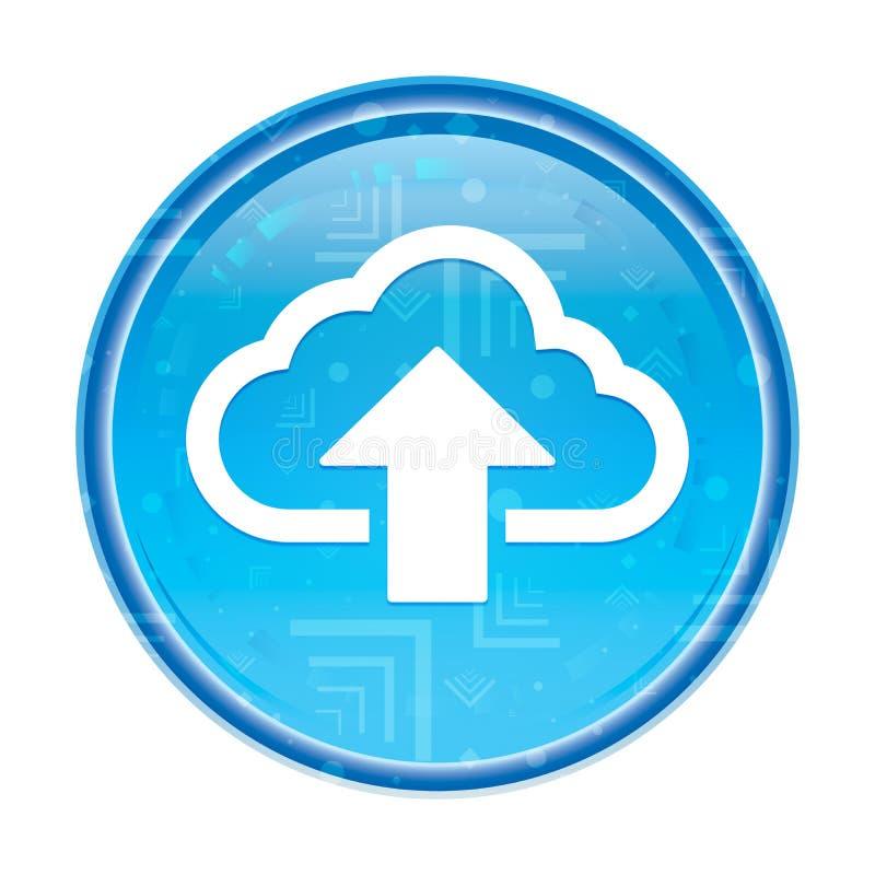 Το σύννεφο φορτώνει το floral μπλε στρογγυλό κουμπί εικονιδίων ελεύθερη απεικόνιση δικαιώματος