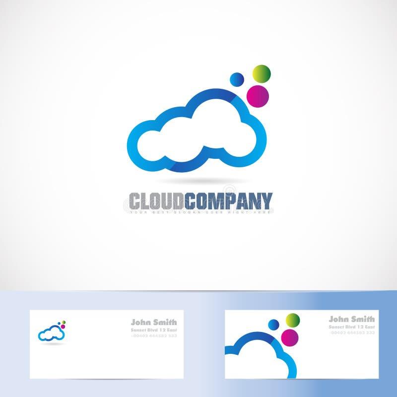 Το σύννεφο χρωματίζει το σχέδιο λογότυπων διανυσματική απεικόνιση