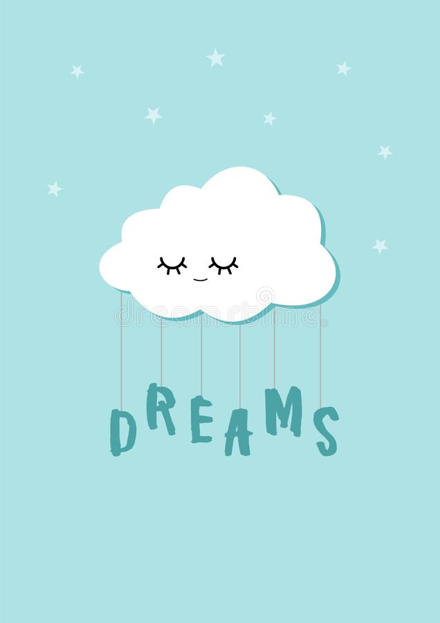Το σύννεφο ύπνου κρατά τη λέξη ονείρων σχοινιά Σκανδιναβική αφίσα παιδιών ύφους ελεύθερη απεικόνιση δικαιώματος