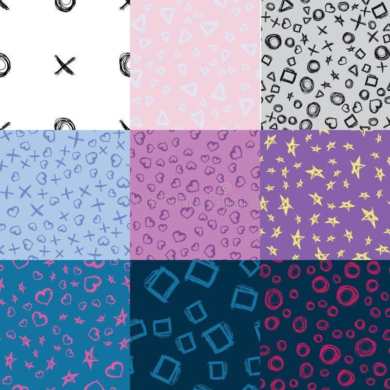 Το σύνολο άνευ ραφής doodle εννέα διαμορφώνει τα σχέδια απεικόνιση αποθεμάτων