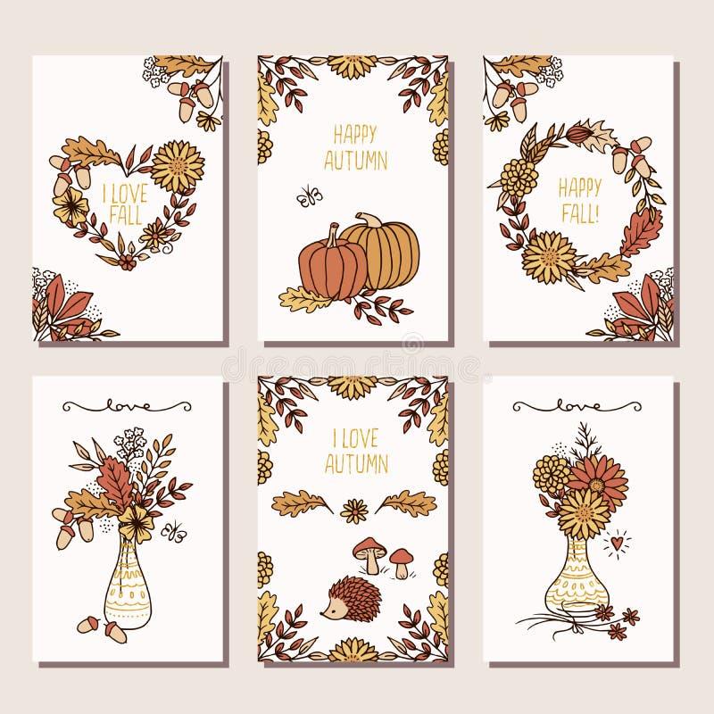 Το σύνολο έξι δίνει τις συρμένες κάρτες φθινοπώρου ελεύθερη απεικόνιση δικαιώματος