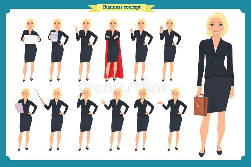 Το σύνολο έξοχου σχεδίου χαρακτήρα επιχειρηματιών με διαφορετικό θέτει Απομονωμένο απεικόνιση διάνυσμα στο λευκό στο επίπεδο ύφος διανυσματική απεικόνιση