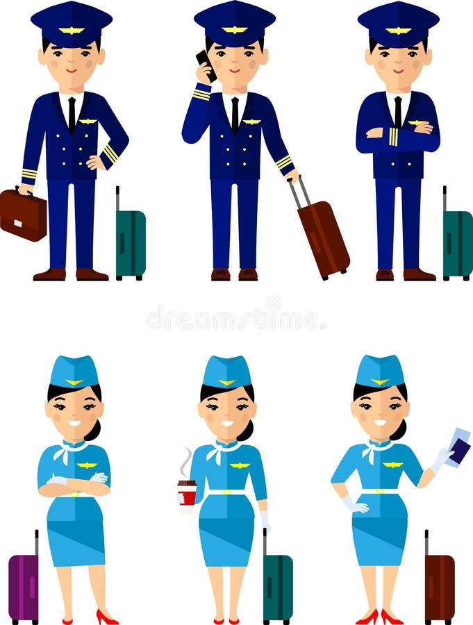 Το σύνολο αεροπορίας ανθρώπων, πειραματικός και αεροσυνοδού με τις αποσκευές σε διαφορετικό θέτει απεικόνιση αποθεμάτων