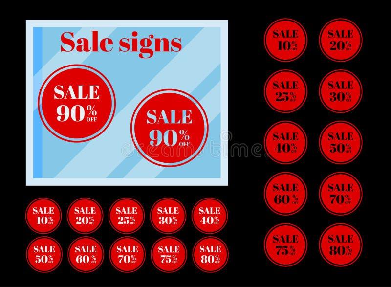 Το σύνολο απομονωμένου κόκκινου κύκλου τιμών έκπτωσης ονομάζει τις ετικέττες στο μαύρο υπόβαθρο διανυσματική απεικόνιση