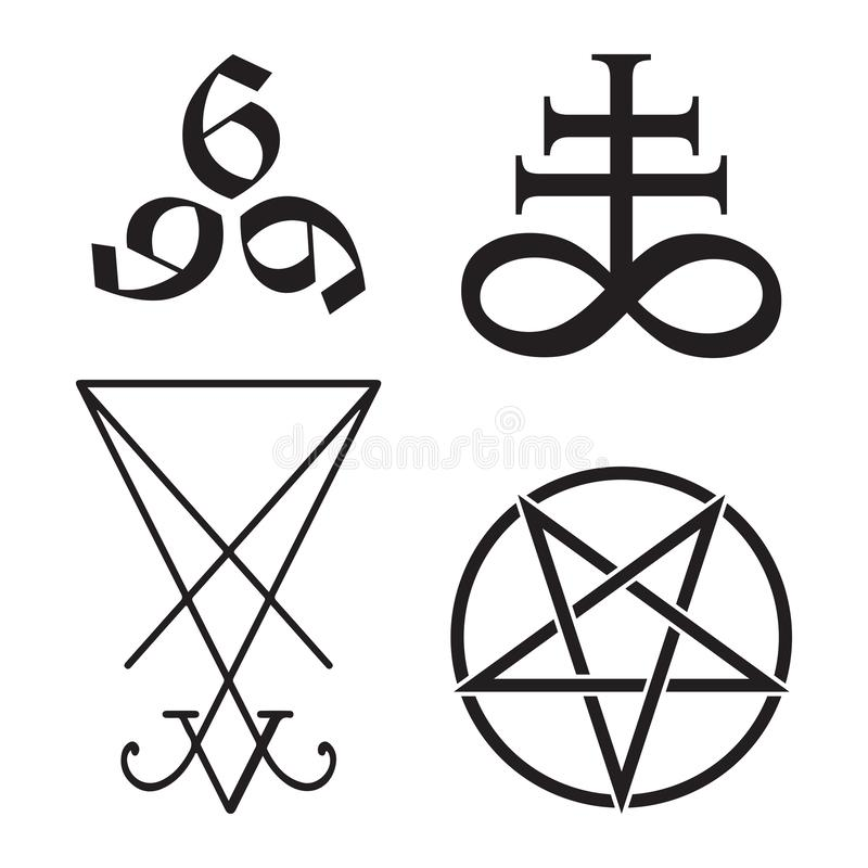 Το σύνολο απόκρυφου Leviathan συμβόλων σταυρού, pentagram, Lucifer sigil και 666 ο αριθμός συρμένου χέρι του γραπτού κτηνών απομο ελεύθερη απεικόνιση δικαιώματος