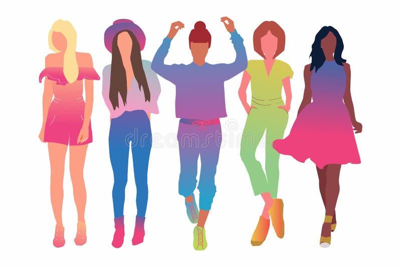 Το σύνολο αρκετά νέου γυναικών ή κοριτσιού έντυσε στη μοντέρνη ιματισμός-επίπεδη απεικόνιση κινούμενων σχεδίων Θηλυκοί χαρακτήρες διανυσματική απεικόνιση