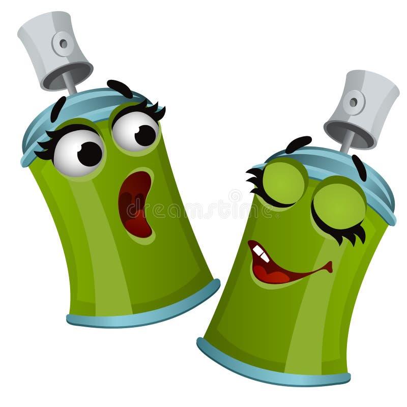 Το σύνολο αστείου ψεκασμού κασσίτερου αερολύματος γέλιου πράσινου μπορεί απομονωμένος στο άσπρο υπόβαθρο Διανυσματική απεικόνιση  ελεύθερη απεικόνιση δικαιώματος