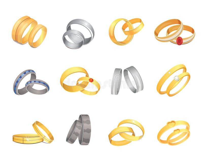 Το σύνολο γαμήλιων δαχτυλιδιών χρυσού και ασημένιου χρυσού κοσμήματος αγάπης ζευγών στεφανών μετάλλων ρομαντικού γαμήλιου απομόνω ελεύθερη απεικόνιση δικαιώματος