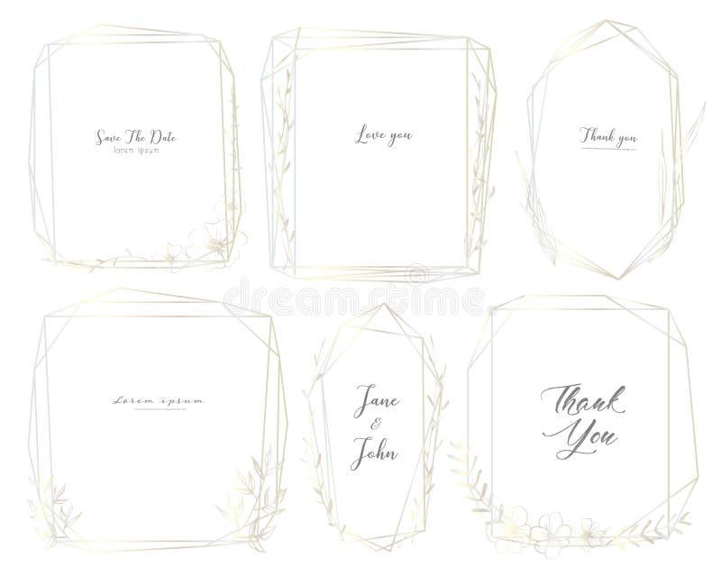 Το σύνολο γεωμετρικού πλαισίου, χέρι που σύρεται ανθίζει, βοτανική σύνθεση, διακοσμητικό στοιχείο για τη γαμήλια κάρτα, προσκλήσε διανυσματική απεικόνιση