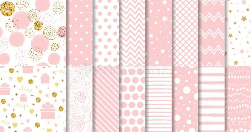 Το σύνολο γλυκού ρόδινου άνευ ραφής ροζ σχεδίων διέστιξε το γεωμετρικό διακοσμητικό διάνυσμα προτύπων κοριτσάκι συλλογής υποβάθρο διανυσματική απεικόνιση