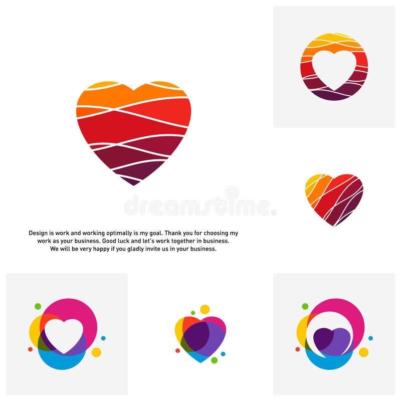 Το σύνολο δημιουργικών εννοιών λογότυπων καρδιών αγάπης, αφαιρεί τα ζωηρόχρωμα εικονίδια, τα στοιχεία και τα σύμβολα - διάνυσμα απεικόνιση αποθεμάτων