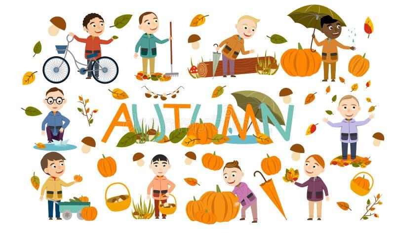 Το σύνολο διαφορετικών αγοριών ένα φθινόπωρο ντύνει τα παιχνίδια με τα φύλλα, προωθεί μια βάρκα εγγράφου, οδηγά ένα ποδήλατο, φέρ διανυσματική απεικόνιση