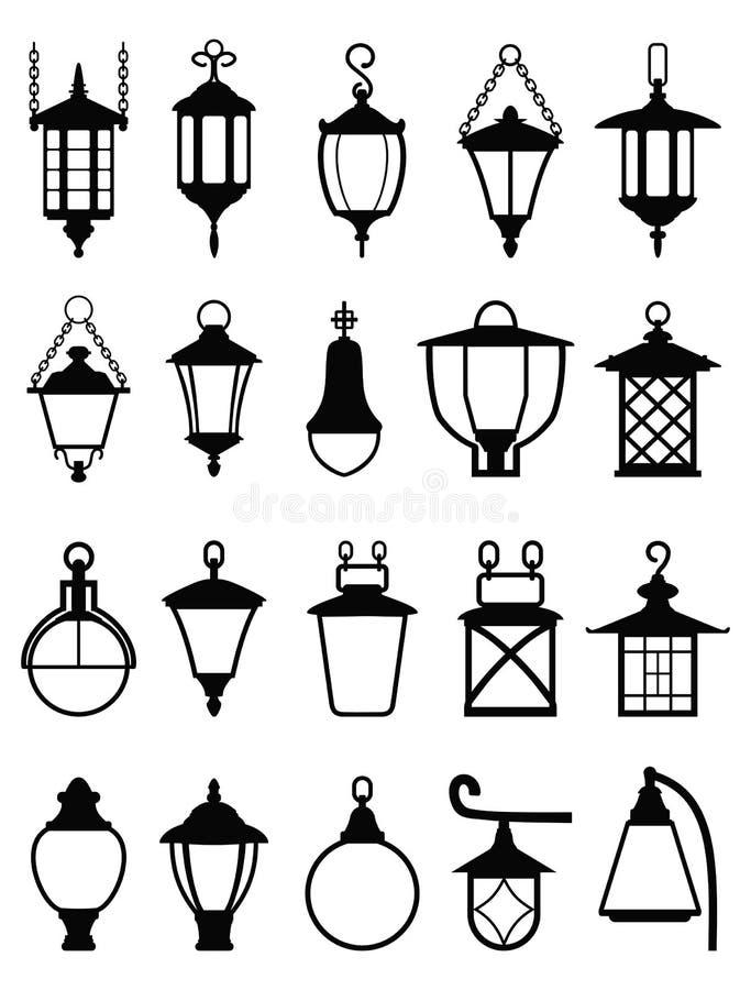 Το σύνολο διαφορετικών τύπων Μαύρων σκιαγραφεί τους λαμπτήρες επίσης corel σύρετε το διάνυσμα απεικόνισης ελεύθερη απεικόνιση δικαιώματος