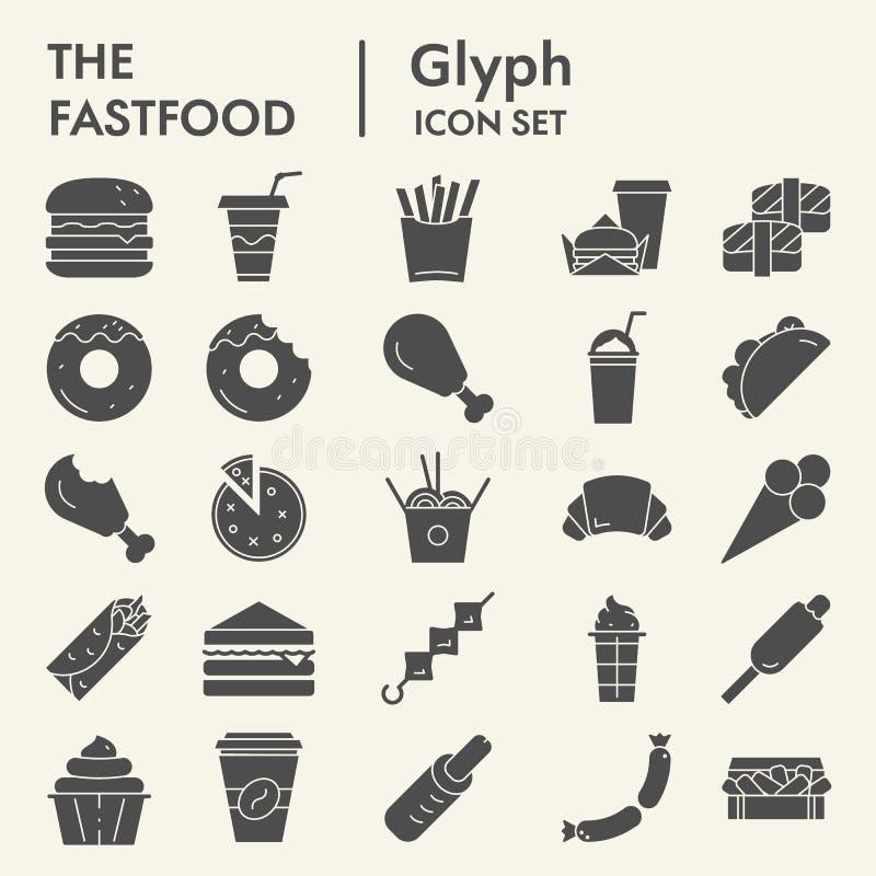 Το σύνολο εικονιδίων γρήγορου γεύματος glyph, συλλογή συμβόλων τροφίμων, διανυσματικά σκίτσα, απεικονίσεις λογότυπων, γεύμα υπογρ διανυσματική απεικόνιση