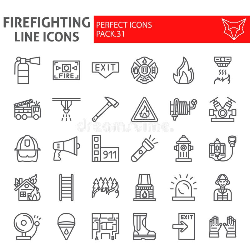 Το σύνολο εικονιδίων γραμμών πυροσβεστών, συλλογή συμβόλων πυροσβεστών, διανυσματικά σκίτσα, απεικονίσεις λογότυπων, πυρασφάλεια  διανυσματική απεικόνιση