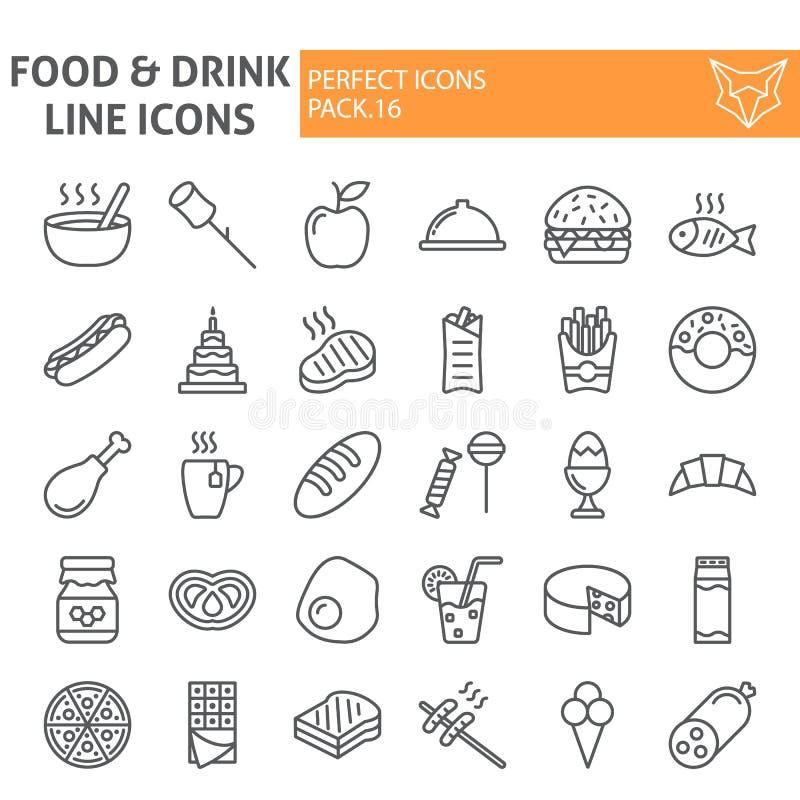 Το σύνολο εικονιδίων γραμμών τροφίμων και ποτών, συλλογή συμβόλων γεύματος, διανυσματικά σκίτσα, απεικονίσεις λογότυπων, κατανάλω ελεύθερη απεικόνιση δικαιώματος