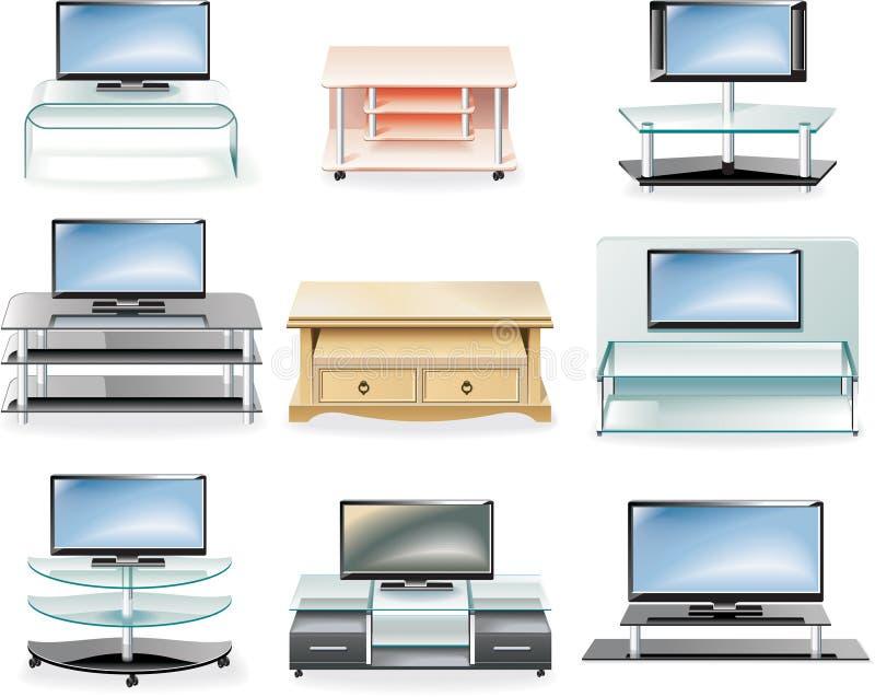 το σύνολο εικονιδίων επίπλων στέκεται το διάνυσμα TV απεικόνιση αποθεμάτων