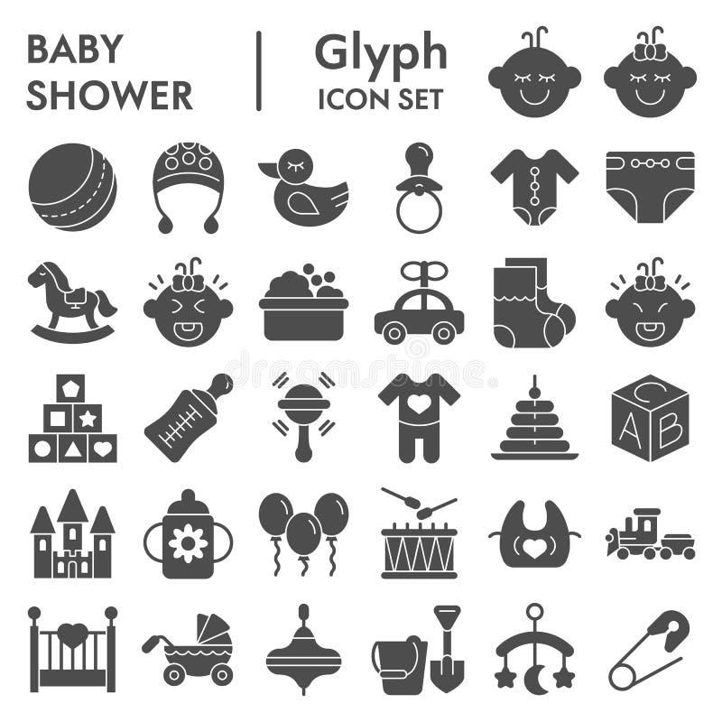 Το σύνολο εικονιδίων μωρών glyph, συλλογή συμβόλων παιδιών, διανυσματικά σκίτσα, απεικονίσεις λογότυπων, παιδική ηλικία υπογράφει διανυσματική απεικόνιση