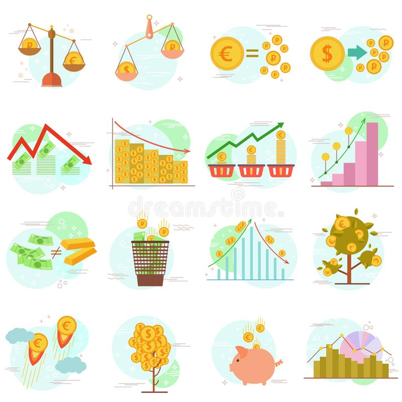 Το σύνολο εικονιδίων περιλήψεων επίπεδων στοιχείων σχεδίου χρηματοδοτεί τα αντικείμενα Διανυσματική έννοια σχεδίου συλλογής εικον διανυσματική απεικόνιση
