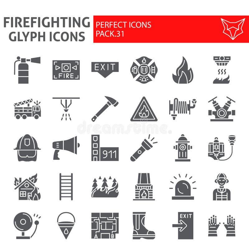 Το σύνολο εικονιδίων πυροσβεστών glyph, συλλογή συμβόλων πυροσβεστών, διανυσματικά σκίτσα, απεικονίσεις λογότυπων, πυρασφάλεια υπ απεικόνιση αποθεμάτων