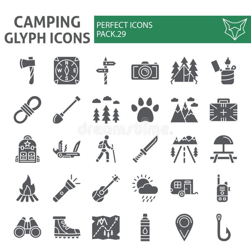 Το σύνολο εικονιδίων στρατοπέδευσης glyph, συλλογή συμβόλων πεζοπορίας, διανυσματικά σκίτσα, απεικονίσεις λογότυπων, ταξίδι υπογρ ελεύθερη απεικόνιση δικαιώματος