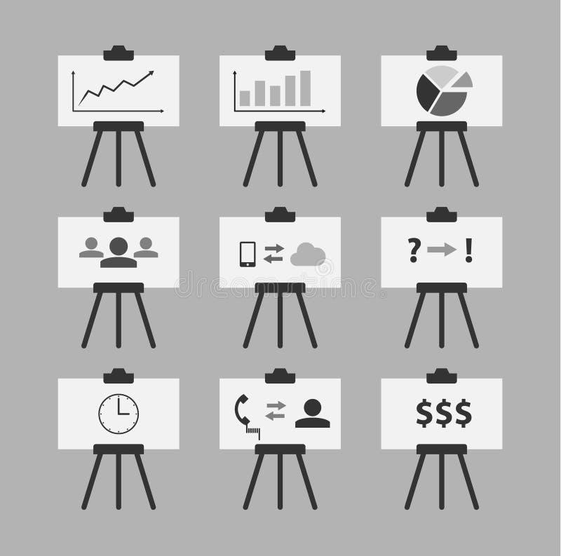 Το σύνολο ελάχιστων απεικονίσεων whiteboard με την επιχείρηση τα εικονίδια ελεύθερη απεικόνιση δικαιώματος
