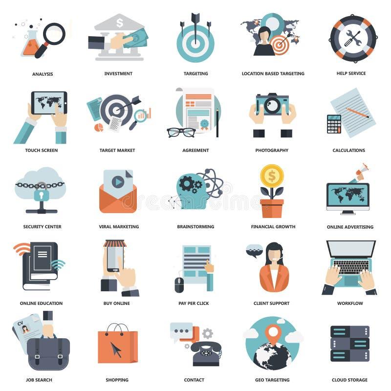 Το σύνολο επίπεδων εικονιδίων σχεδίου για την επιχείρηση, πληρώνει ανά κρότο, δημιουργική διαδικασία, έρευνα, ανάλυση Ιστού, ροή  απεικόνιση αποθεμάτων