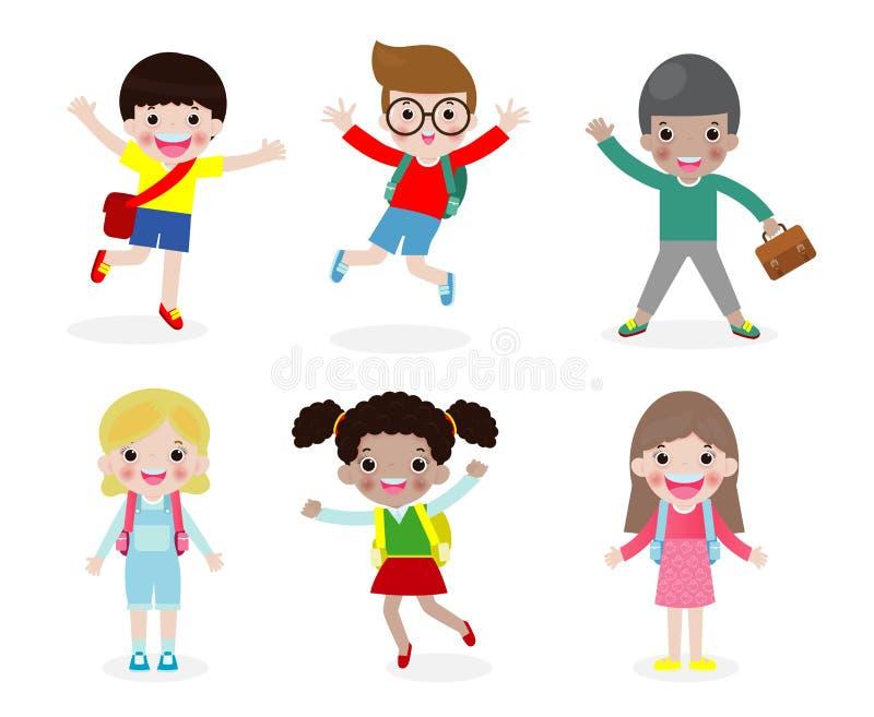 Το σύνολο ευτυχών παιδιών πηγαίνει στο σχολείο, πίσω στο σχολείο, έννοια εκπαίδευσης, σχολικά παιδιά, που απομονώνονται στο άσπρο ελεύθερη απεικόνιση δικαιώματος
