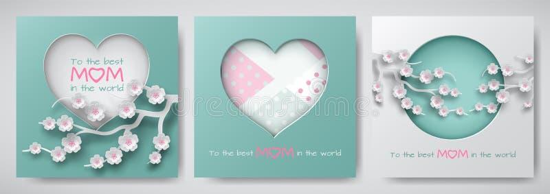 Το σύνολο ευχετήριων καρτών για την ημέρα μητέρων με το κείμενο συγχαρητηρίων, ο κύκλος εγγράφου και η καρδιά διακόσμησε τα λουλο ελεύθερη απεικόνιση δικαιώματος