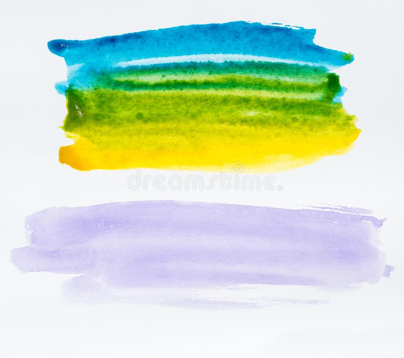 Το σύνολο ζωηρόχρωμης βούρτσας watercolor τέσσερα κτυπά το χρώμα στη λευκιά ΤΣΕ στοκ εικόνα με δικαίωμα ελεύθερης χρήσης