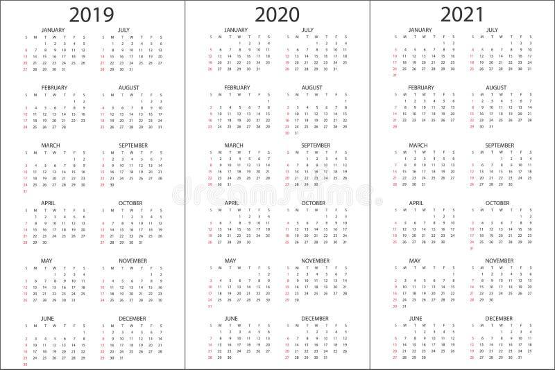 Το σύνολο ημερολογίων το 2019, 2020, 2021 έτη, απλό πρότυπο σχεδίου, κάθετο σχήμα, εβδομάδα αρχίζει την Κυριακή, διανυσματική απε απεικόνιση αποθεμάτων