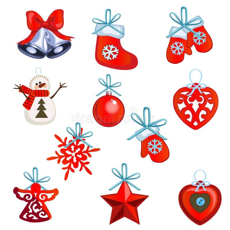 Το σύνολο ιδιοτήτων του νέων έτους και των Χριστουγέννων που απομονώνονται στο άσπρο υπόβαθρο επίσης corel σύρετε το διάνυσμα απε ελεύθερη απεικόνιση δικαιώματος