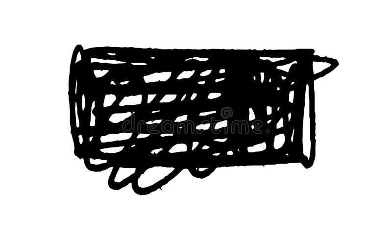 Το σύνολο κακογραφίας λεκιάζει το χέρι που σύρεται στη μάνδρα, διανυσματικά στοιχεία σχεδίου λογότυπων διανυσματική απεικόνιση