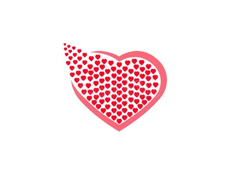 Το σύνολο καρδιών των μικρών καρδιών έθεσε για την απεικόνιση σχεδίου λογότυπων σε ένα άσπρο υπόβαθρο ελεύθερη απεικόνιση δικαιώματος