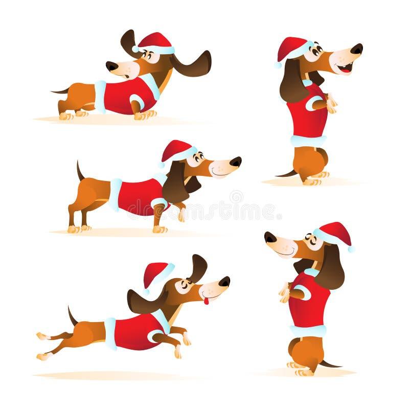 Το σύνολο καφετιού dachshund κινούμενων σχεδίων στο καπέλο Santa ` s και κόκκινου σακακιού σε διαφορετικό θέτει ελεύθερη απεικόνιση δικαιώματος