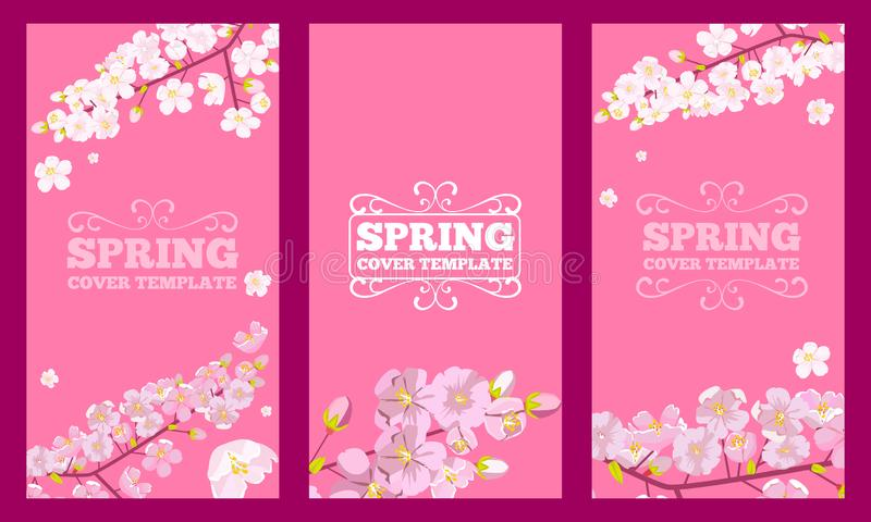 Το σύνολο κερασιού ανθίζει διακοσμημένο σχέδιο κάλυψης Σχέδιο ιπτάμενων έννοιας λουλουδιών άνοιξη r ελεύθερη απεικόνιση δικαιώματος