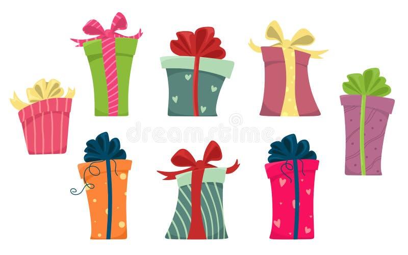 Το σύνολο κιβωτίων σχεδιάζει τα επίπεδα κινούμενα σχέδια Παρόν κιβωτίων δώρων, κορδέλλα και διάνυσμα κιβωτίων, Χριστούγεννα διακο ελεύθερη απεικόνιση δικαιώματος