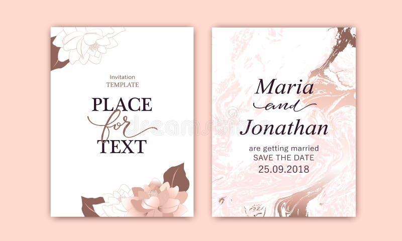 Το σύνολο κομψών καρτών με το ροζ, κοκκινίζει peonies Το λευκό και αυξήθηκε χρυσή μαρμάρινη σύσταση Γάμος, εκτός από το σχέδιο ημ απεικόνιση αποθεμάτων