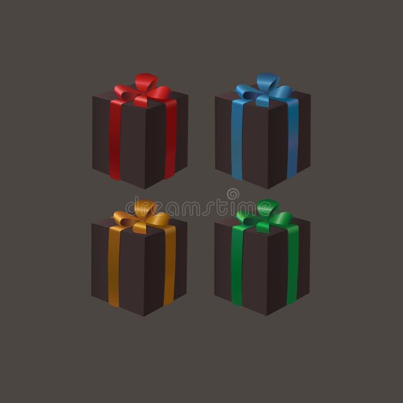 Το σύνολο μαύρων κιβωτίων δώρων με μια χρυσή, κόκκινη, μπλε, πράσινη κορδέλλα υποκύπτει σε ένα σκοτεινό υπόβαθρο Μαύρη Δευτέρα Cy διανυσματική απεικόνιση