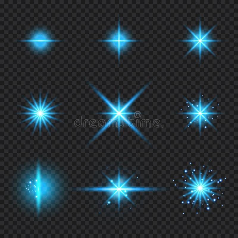Το σύνολο μπλε φωτός πυράκτωσης στοιχείων εξερράγη τις ακτίνες, εκρήξεις αστεριών με τα σπινθηρίσματα που απομονώθηκαν στο διαφαν διανυσματική απεικόνιση