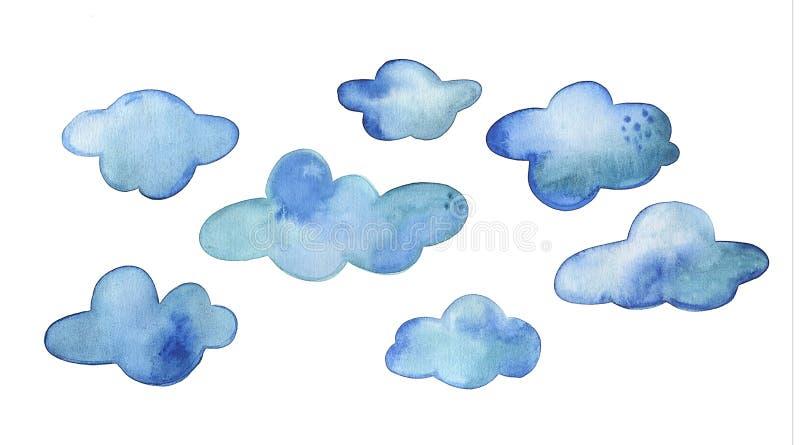 Το σύνολο μπλε watercolor καλύπτει το χέρι που επισύρεται την προσοχή που αποκόπτει στο λευκό απεικόνιση αποθεμάτων